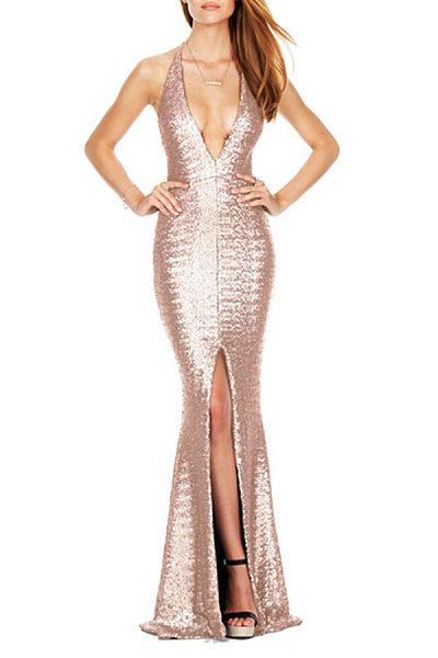 Sexy Sequins Deep V Neck Slit Party Dresses