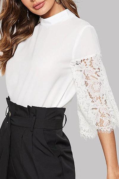 Band Collar  Decorative Lace Patchwork  Plain Blouses