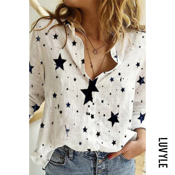 Casual Star Print Long Sleeve Button Down Shirts