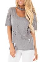 Round Neck Hole  Plain T-Shirts