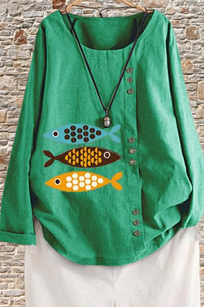 Long Sleeve Casual Fish Print Shirt