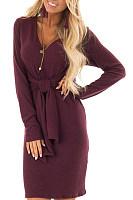 V Neck  Belt  Plain  Long Sleeve Bodycon Dresses