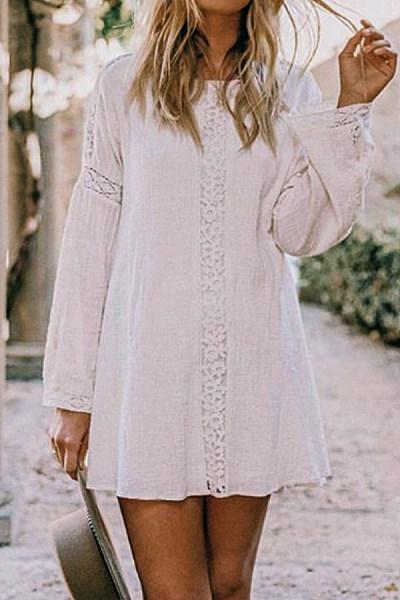 Round Neck  Decorative Lace  Plain  Decorative Lace Casual Dresses