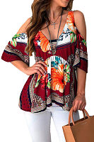 Open Shoulder  Backless  Floral Printed T-Shirts
