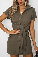 Turn Down Collar  Single Breasted  Belt  Plain  Short Sleeve Casual Dresses