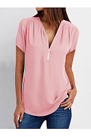 V-Neck Zips Plain Short Sleeve Blouses