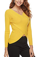 V Neck Beads Plain Long Sleeve Sweater