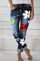 Fashion Floral Denim Pants