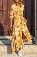 Casual Lapel Printed Long Sleeve Maxi Dress