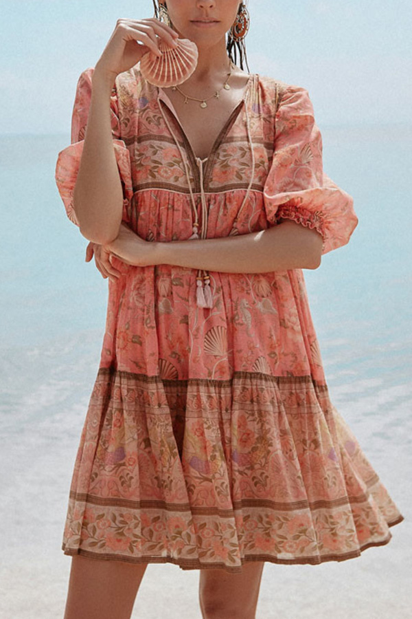 Cute printed bohemian beach dress in coral color