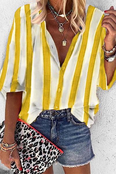 Loose Striped V-Neck Shirt