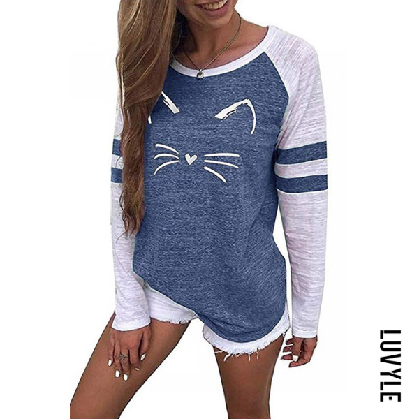 Blue Casual Round Neck Cat Print T-Shirts Blue Casual Round Neck Cat Print T-Shirts