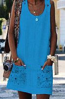 Round Neck Sleeveless Printed Casual Dress