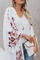 Collarless  Floral Printed Cardigans