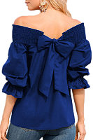 Off Shoulder  Bowknot  Plain  Lantern Sleeve  Blouses