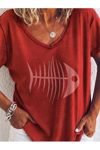 Casual V Neck Short Sleeve Printed Colour T-Shirt