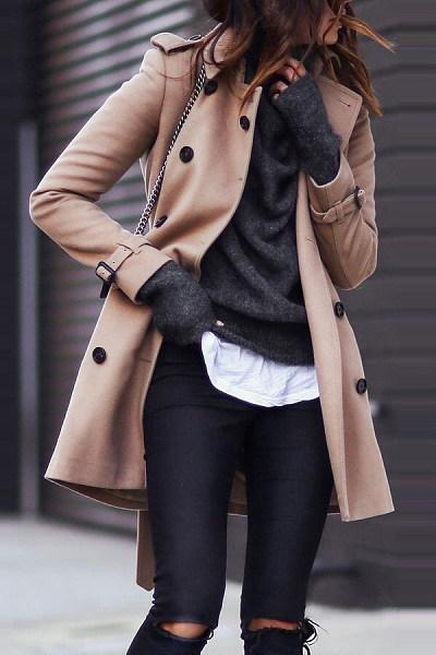 Fold Over Collar  Decorative Buttons  Plain Outerwear