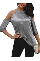 Sexy Off-Shoulder Halter Shining Pure Colour T-Shirt
