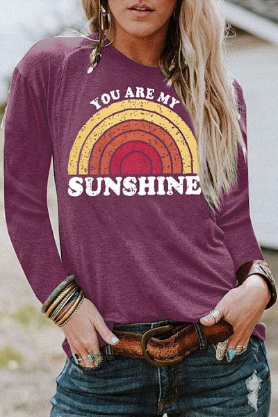 Round Neck Long Sleeve Rainbow T-shirt