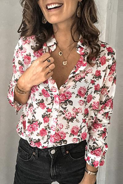 Women's Casual Flower Print Fold Collar Shirt