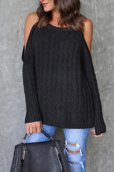 Open Shoulder  Cutout  Plain Sweaters
