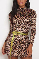 High Neck  Leopard Printed  Long Sleeve Bodycon Dresses