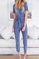 V Neck  Striped  Short Sleeve Jumpsuits