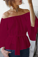 Off Shoulder  Belt  Plain  Bell Sleeve  Blouses