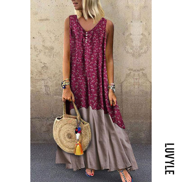 Red V Neck Patchwork Sleeveless Maxi Dresses Red V Neck Patchwork Sleeveless Maxi Dresses
