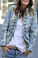 Band Collar  Decorative Buttons  Print Blazers