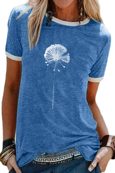 Round Neck Print Short Sleeve T-shirt