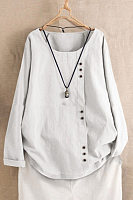 Round Neck Decorative Buttons Plain Blouse