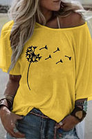 Women's mid-sleeved printed oversized T-shirt