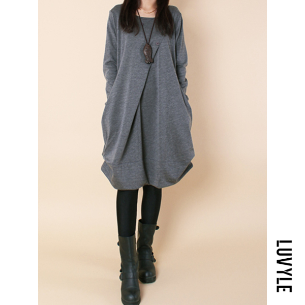Gray Casual Round Neck Solid Pocket Shift Dress Gray Casual Round Neck Solid Pocket Shift Dress
