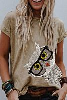 Owl Round Neck Short Sleeve T-shirt