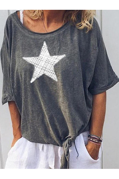 Fashion Stars Printed Short Sleeve Leisure T Shirt
