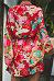 Surplice  Belt  Floral Printed  Bell Sleeve  Long Sleeve Casual Dresses