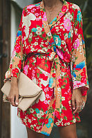 Surplice  Belt  Floral Printed  Bell Sleeve  Long Sleeve Casual Dresses