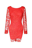 Round Neck  Backless Patchwork  Lace Plain Bodycon Dresses
