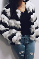 Fashion Long Sleeved Wavy Spell Color Plush Short Overcoat