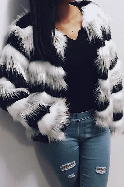 Fashion Long Sleeved Wavy Spell Color Plush Short Overcoat