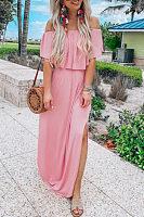 Off Shoulder  Slit  Plain  Short Sleeve Maxi Dresses
