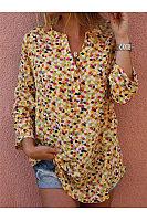 V-Collar Print Button Blouse Shirt