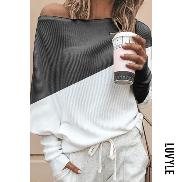 White Casual Off-The-Shoulder Loose Stitching Contrast Color Long-Sleeved T-Shirt White Casual Off-The-Shoulder Loose Stitching Contrast Color Long-Sleeved T-Shirt
