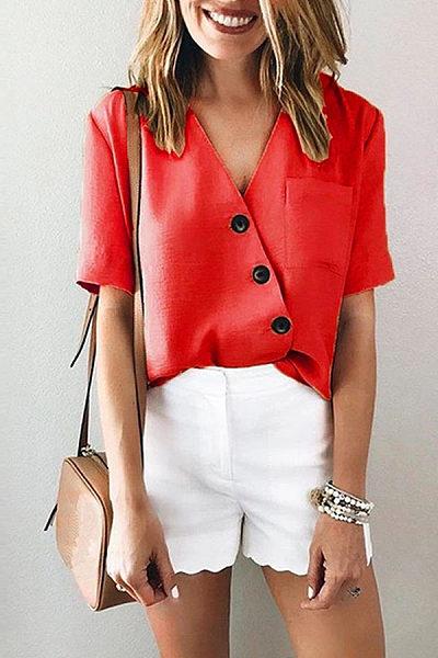 Fashion Pure Color V Neck Short Sleeves Irregular Shirt