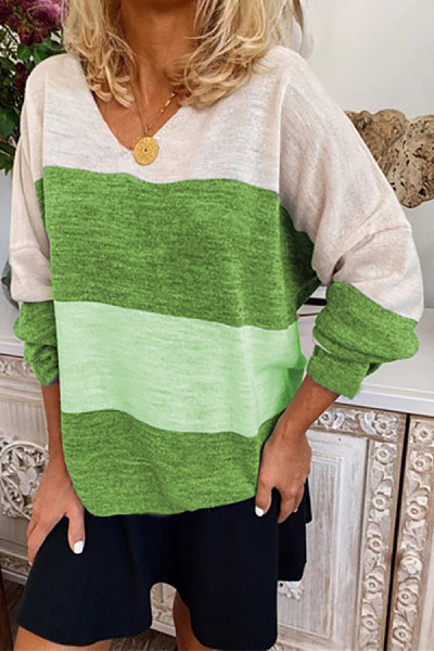 V Neck Long Sleeve Colouring T-shirt