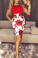 Round Neck  Patchwork  Short Sleeve Bodycon Dresses