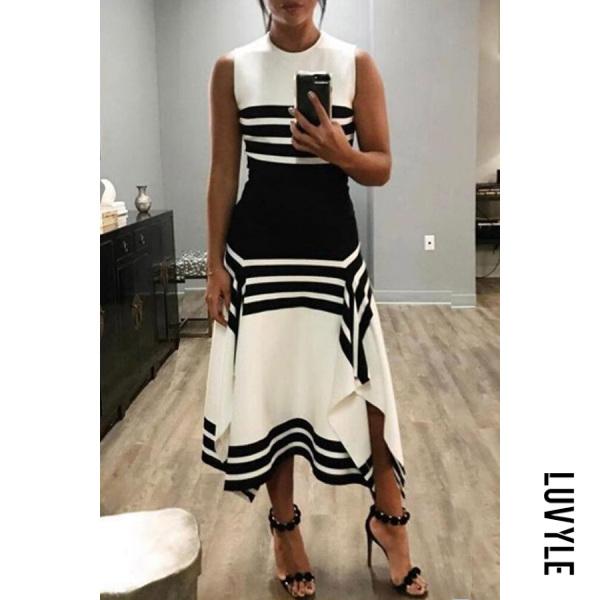 Round Neck Sleeveless Striped Maxi Dress