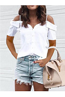Casual Off-The-Shoulder Short-Sleeved Blouse