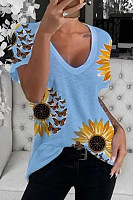 Floral V Neck Casual T-shirt